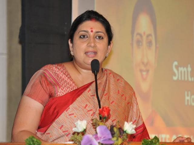HRD Minister Smriti Irani addressing the gathering at DAV Institute of Engineering and Technology at Jalandhar, India.
