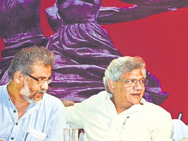 (From left) CPI-ML (Liberation) general secretary Dipankar Bhattacharya, CPM general secretary Sitaram Yechuri and CPI's AB Bardhan in Patna on Monday.