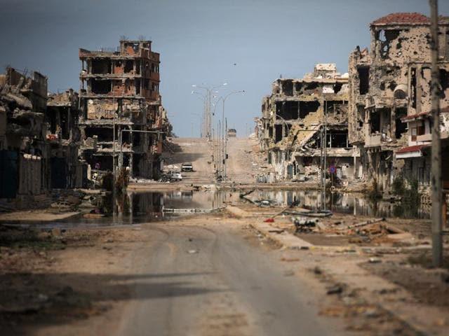 A general view of buildings ravaged by fighting in Sirte, Libya.
