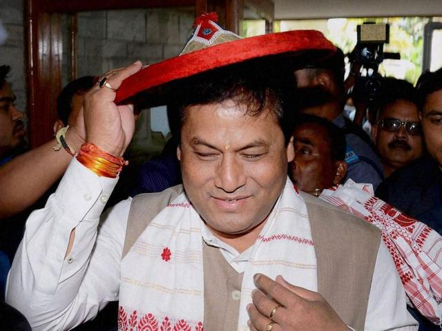 Sarbananda Sonowal was elected BJP legislature party leader at a meeting of the newly-elected MLAs in Guwahati on Sunday afternoon