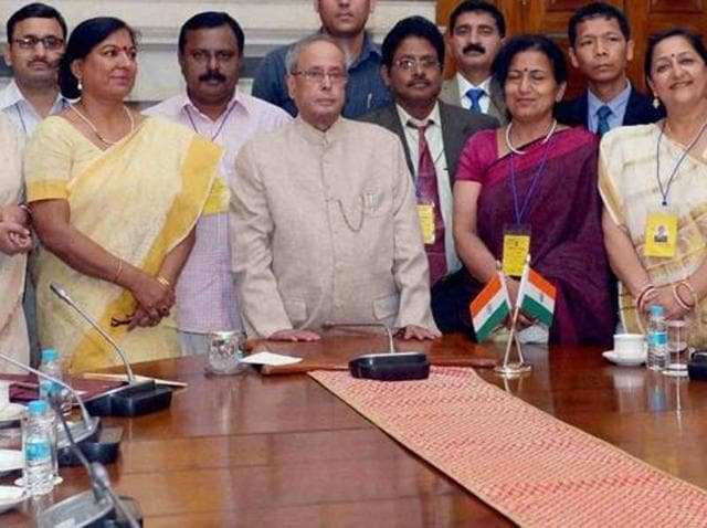 In this file photo, President Pranab Mukherjee can be seen in a meeting with teachers at the Rashtrapati Bhavan in New Delhi.