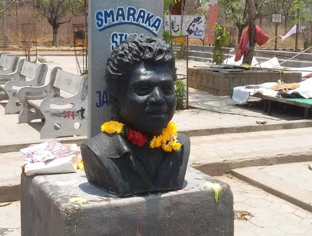 A  bust of Dalit scholar Rohith Vemula at the Hyderabad University campus.