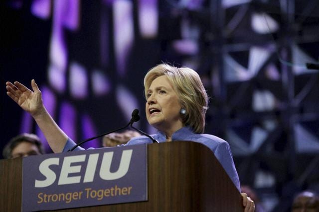 Democratic presidential candidate Hillary Clinton speaks at a convention on Monday.