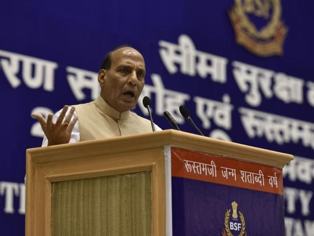In this file photo, Union home minister Rajnath Singh can be seen addressing BSF personnel at Vigyan Bhawan in New Delhi.