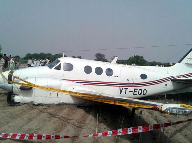 An air ambulance with seven people on board made an emergency landing in a field in the Najafgarh area of New Delhi..