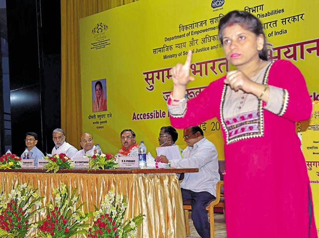 A sign language interpreter at the workshop  on 'Accessible India Campaign' in Jaipur on Tuesday.