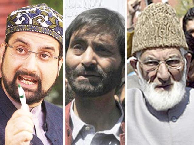 A combination photo of Kashmiri separatist leaders Mirwaiz Umar Farooq, Yasin Malik, Syed Ali Shah Geelani (L-R).