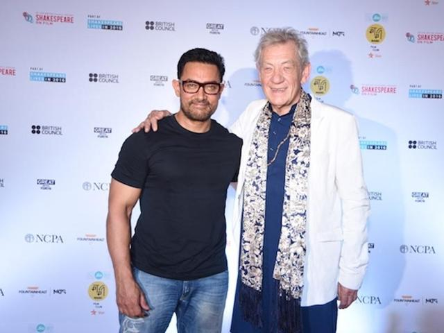 Aamir Khan and Ian Mc Kellen during a conversation organised by MAMI Film Club, in Mumbai.