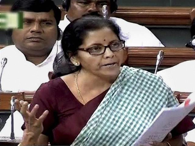 File photo of commerce minister Nirmala Sitharaman in Lok Sabha.