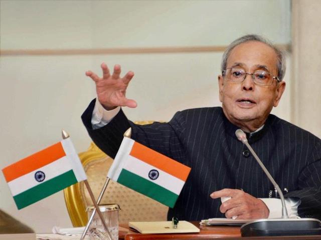 File photo of President Pranab Mukherjee at Rashtrapati Bhavan in New Delhi.