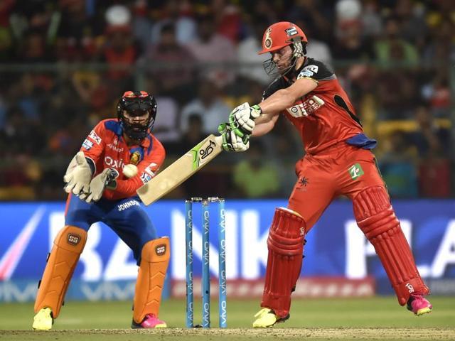 ABDe Villiers plays a shot against Gujarat Lions.