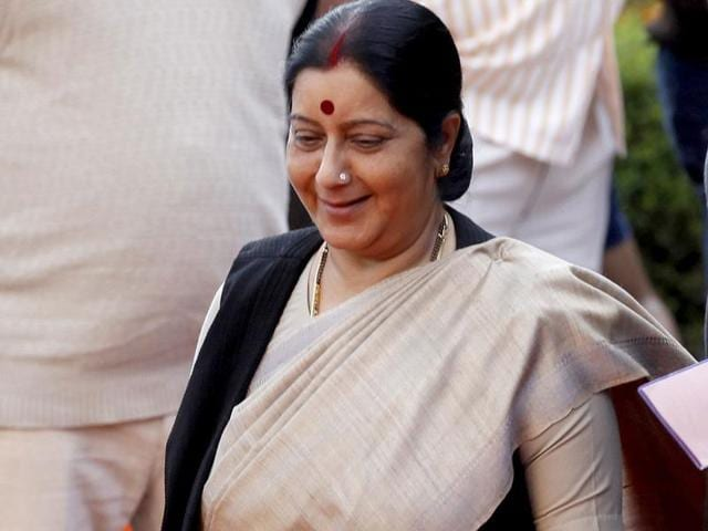 File photo of external affairs minister Sushma Swaraj. The ministry is trying to bring back an Indian boy from Jessore in Bangladesh, years after he went missing.