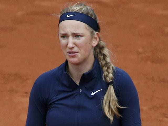 Victoria Azarenka reacts during the 2016 French Open.
