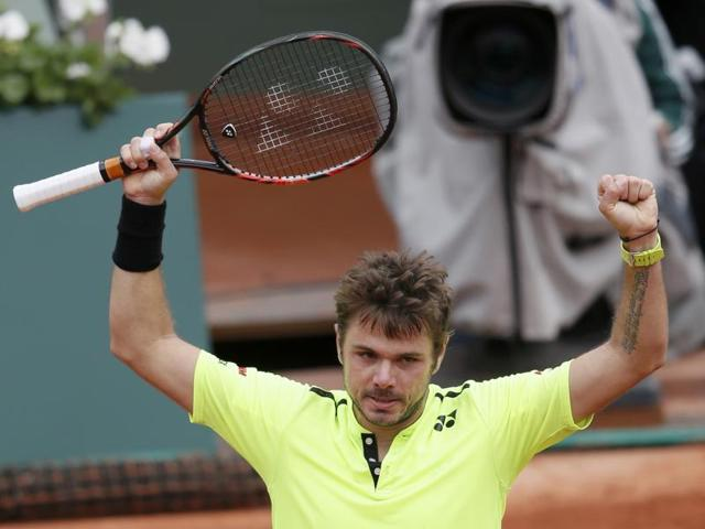 Stan Wawrinka heaves a sigh of relieft after his win.