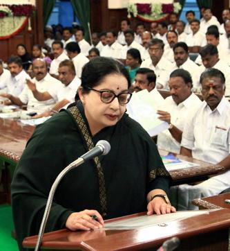 Tamil Nadu chief minister J Jayalalithaa speaks during the first day of first session of the 15th Tamil Nadu Legislative Assembly in Chennai on Wednesday.