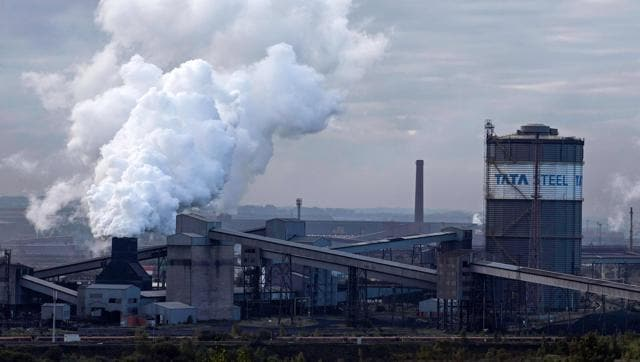 This file photo taken on October 17, 2015 shows the Tata Steel plant in Scunthorpe, northeast England.