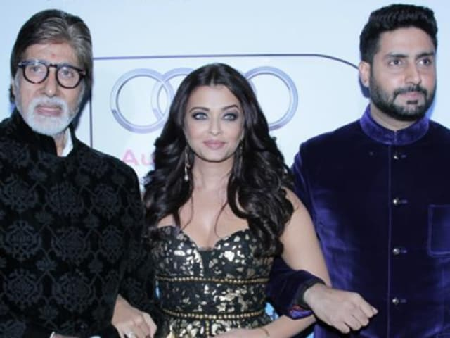 Amitabh Bachchan with Aishwarya and Abhishek at HT Most Stylish awards on Tuesday evening in New Delhi.