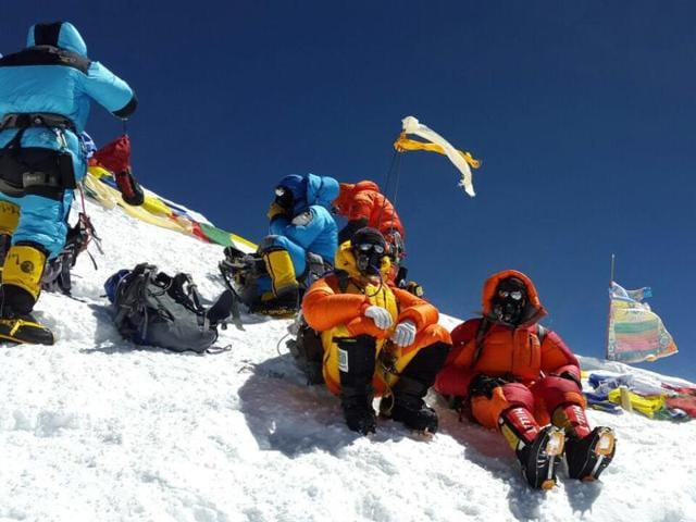 Climbers Bhagwan Singh and Ratnesh Pandey at a base camp before climbing Mount Everest.