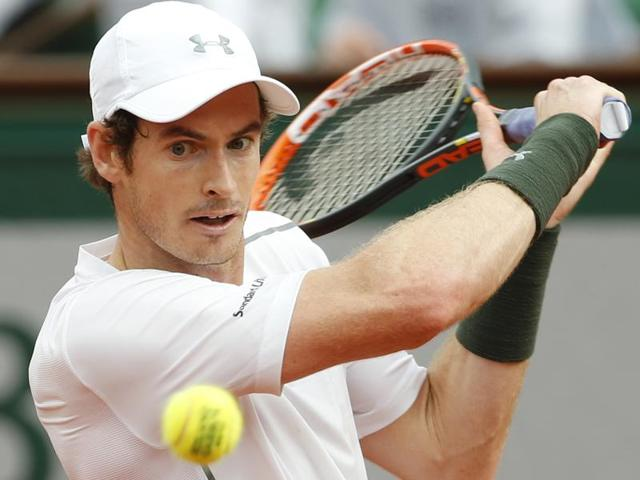Britain's Andy Murray returns in his second round match of the French Open tennis tournament.