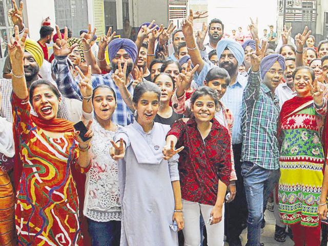 n Students and teachers in a jubilant mood after the declaration of Class-10 result at Teja Singh Sutantar Memorial Senior Secondary School in Ludhiana on Tuesday.