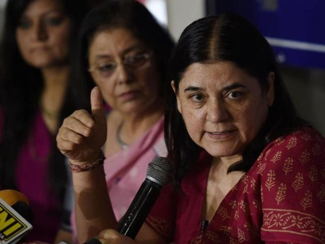 In this file photo, Union minister for women and child development Maneka Gandhi (C) can be seen speaking at a press conference in New Delhi. She released the draft rules of Juvenile Justice Act 2015 on Wednesday.
