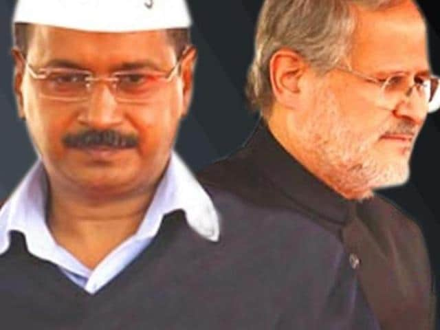 Combination picture of Delhi chief minister Arvind Kejriwal and Lt Governor Najeeb Jung . The CIC has asked the L-G and Centre to reveal the report which was the basis of dissolving Delhi assembly in 2014.