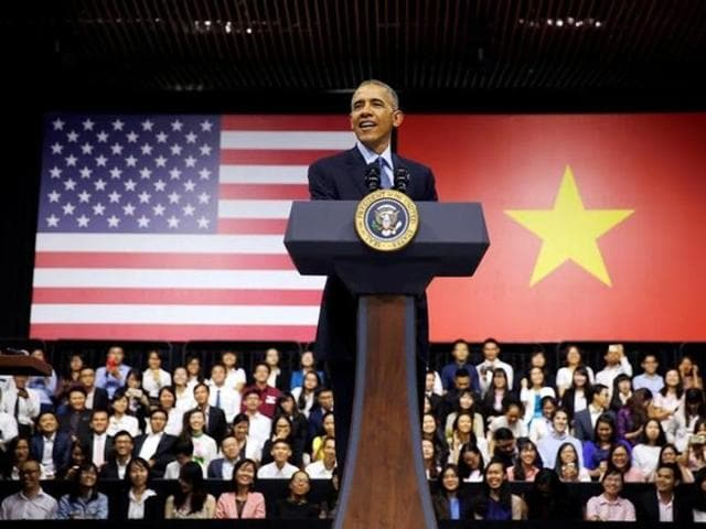 In this file photo, US President Barack Obama attends a town hall meeting with members of the Young Southeast Asian Leaders Initiative at the GEM Center in Ho Chi Minh City.