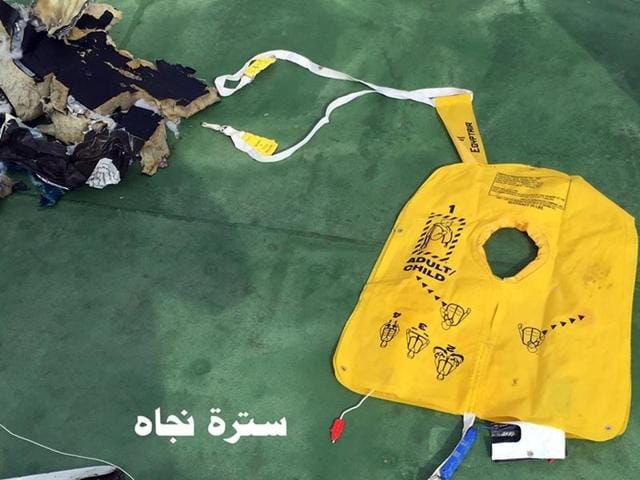 This file picture on May 21, 2016, shows a life vest from EgyptAir flight 804 in Egypt.