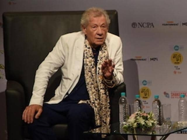 Bollywood actor Aamir Khan poses with English actor Sir Ian McKellen during a conversation organised by MAMI Film Club.