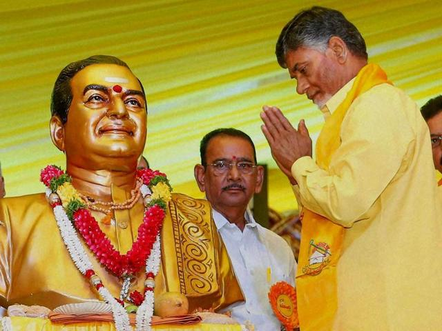 In this file photo, TDP president and Andhra Pradesh chief minister N Chandrababu Naidu pays tributes to NT Rama Rao on the party founder's 92nd birth anniversary in Hyderabad.