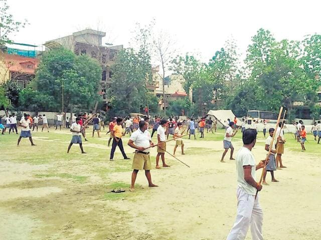 File photo of Bajrang Dal training camp organised in Noida, Uttar Pradesh, on May 24, 2016.  The Faizabad Police lodged an FIRagainst workers of the organisation for organising a similar camp in Ayodhya.