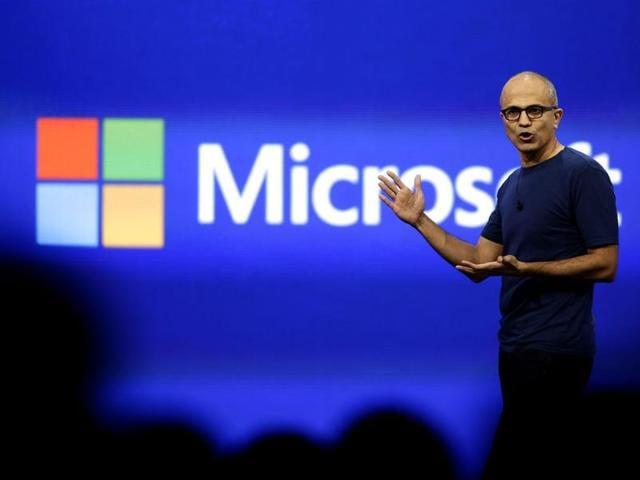 File photo of Microsoft CEO Satya Nadella delivering his keynote address at San Francisco in California.