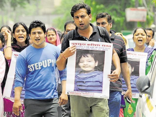 The four-year-old's parents said they staged the protest to pressurise the police to find her at the earliest.