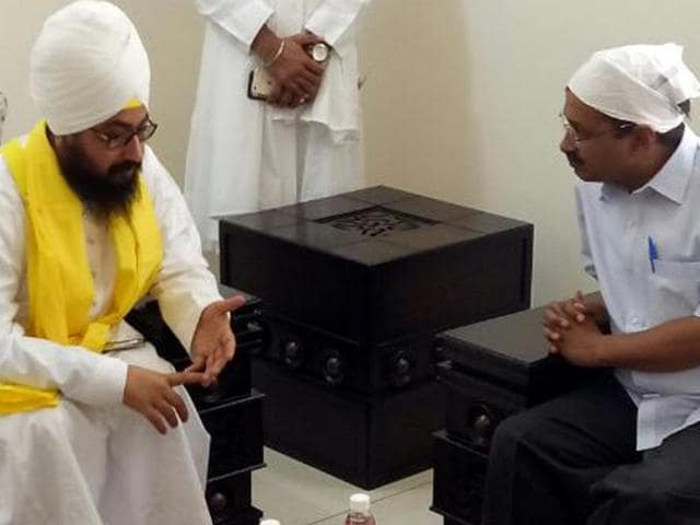 Delhi chief minister Arvind Kejriwal in a  meeting with  Ranjit Singh Dhadrianwale on Wednesday.