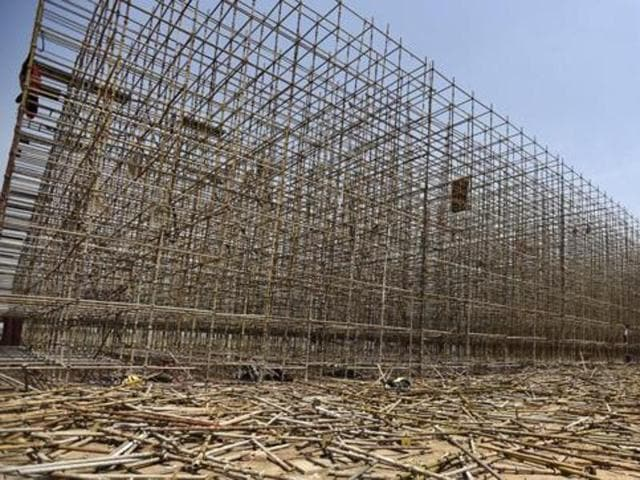 In this file photo, the dismantled the stage used during the World Culture Festival organised by Sri Sri Ravi Shankar's Art of Living event can be seen.