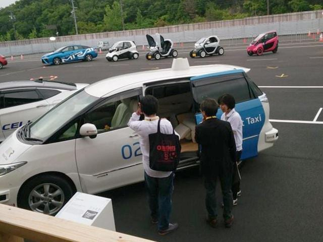 Japanese technology company Robot Taxi unveiled driverless taxis on Thursday on the sidelines of the G7 summit for a test drive by those attending the meet in Kashiko Island in Mie Prefecture's Shima city(Jayanth Jacob/HT Photo)