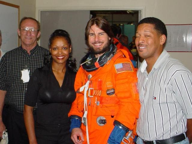 Tom Cruise visiting NASA to ride in the Bldg 5 Motion Base.