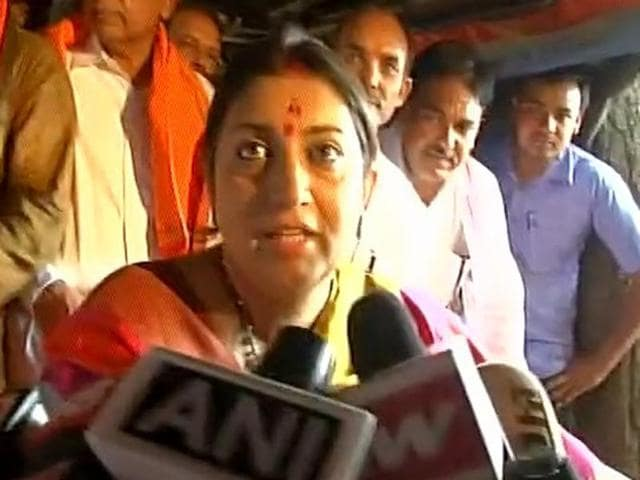 Union minister Smriti Irani interacts with journalists during her visit to Amethi.