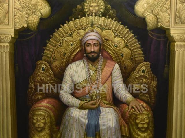 A portrait of Shivaji at the Jehangir Art Gallery in Mumbai.
