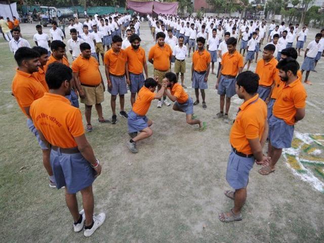 Bajrang Dal members display their combat skills at a training camp in Noida.