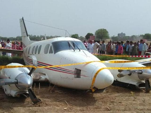 An air ambulance made an emergency landing at Najafgarh in New Delhi on Tuesday.