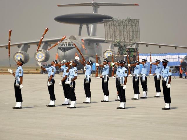 Members of the Indian Air Force (IAF) Air Warrior drill team performs during full dress rehearsal ahead of 83rd Air Force day on October 8, at Hindan air base, in Ghaziabad.