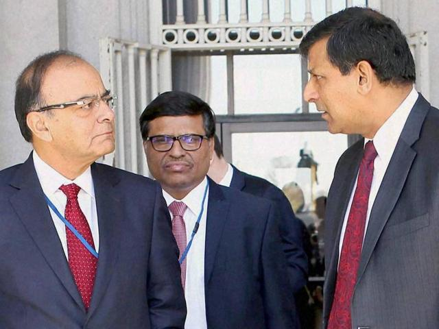 Finance minister Arun Jaitley and Reserve Bank of India governor Raghuram Rajan during a recent event in Washington.
