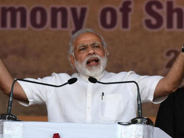 PM Modi highlighted the NDA administration's work in the infrastructure and health sectors, and underscored his link to a state that elected him to the Lok Sabha in 2014.
