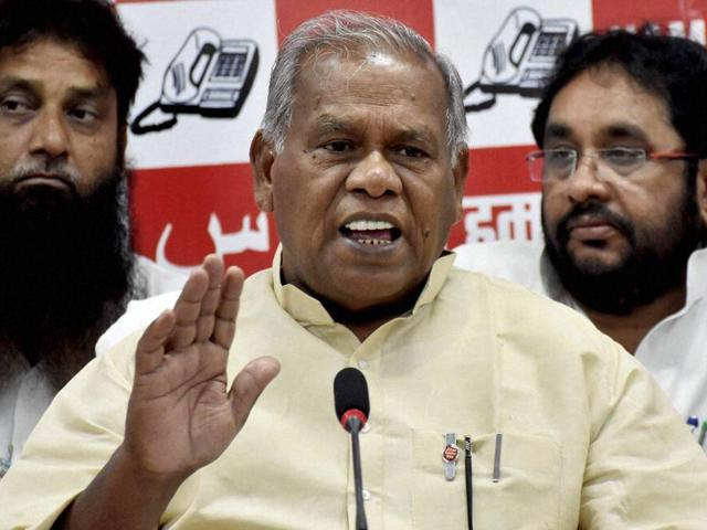 Former Bihar chief minister and HAM(S) chief Jitan Ram Manjhi addresses a press conference in Patna.