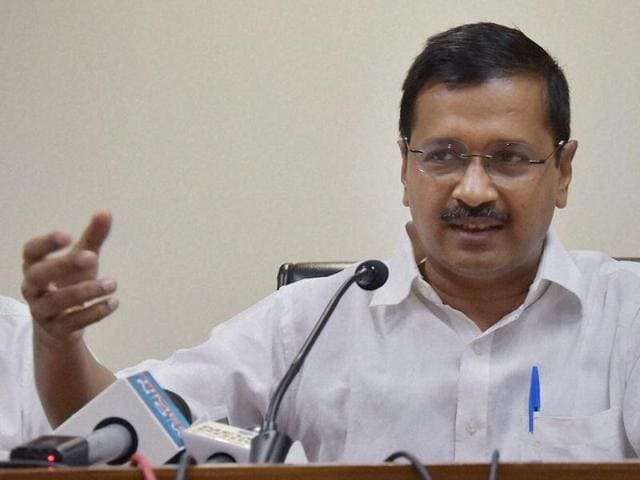 In this file photo, Delhi chief minister Arvind Kejriwal can be seen addressing a press conference at the Delhi Secretariat.