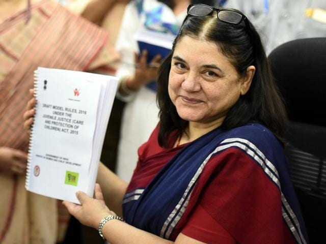 Union minister for women and child development Maneka Gandhi  releases the draft rules of Juvenile Justice Act 2015.
