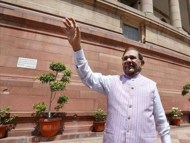 JDU leader Sharad Yadav at Parliament house during the last day of the session in New Delhi.