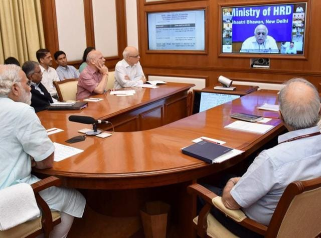 Prime Minister Narendra Modi chairs a meeting on PRAGATI programme – an ICT-based platform, in New Delhi.