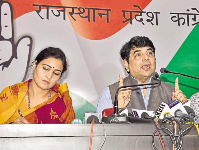 Congress leader RPN Singh addresses a press conference at the party's headquarters in Jaipur on Thursday.